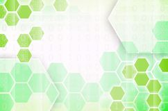 Abstract technological background consisting of a set of hexagon. S and other geometric shapes in green color Vector Illustration