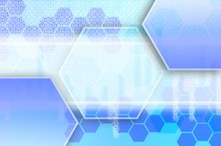 Abstract technological background consisting of a set of hexagon. S and other geometric shapes in blue color Vector Illustration