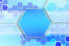 Abstract technological background consisting of a set of hexagon. S and other geometric shapes in blue color royalty free illustration