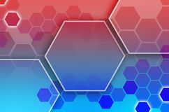 Abstract technological background consisting of a set of hexagon. S and other geometric shapes in blue and red color Stock Illustration