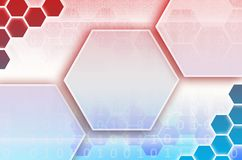 Abstract technological background consisting of a set of hexagon. S and other geometric shapes in blue and red color Vector Illustration