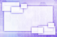 Abstract technological background consisting of a set of hexagon. S and other geometric shapes in blue and violet color Vector Illustration