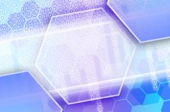 Abstract technological background consisting of a set of hexagon. S and other geometric shapes in blue and violet color stock illustration
