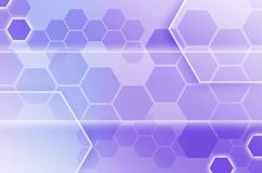 Abstract technological background consisting of a set of hexagon. S and other geometric shapes in blue and violet color royalty free illustration
