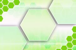 Abstract technological background consisting of a set of hexagon. S and other geometric shapes in green color stock illustration