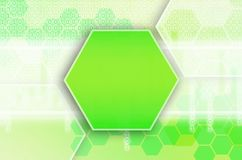 Abstract technological background consisting of a set of hexagon. S and other geometric shapes in green color royalty free illustration