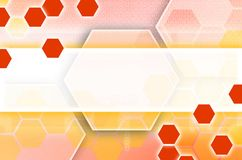 Abstract technological background consisting of a set of hexagon. S and other geometric shapes in orange color royalty free illustration