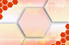 Abstract technological background consisting of a set of hexagon. S and other geometric shapes in orange color stock illustration