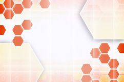 Abstract technological background consisting of a set of hexagon. S and other geometric shapes in orange color Vector Illustration