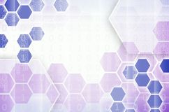Abstract technological background consisting of a set of hexagon. S and other geometric shapes in violet color royalty free illustration