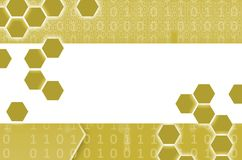Abstract technological background consisting of a set of hexagon. S and other geometric shapes in yellow color Royalty Free Illustration