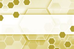 Abstract technological background consisting of a set of hexagon. S and other geometric shapes in yellow color stock illustration