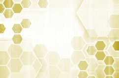 Abstract technological background consisting of a set of hexagon. S and other geometric shapes in yellow color Vector Illustration