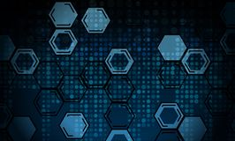 Abstract technological background from honeycombs and dots. Vector royalty free illustration
