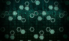 Abstract technological background from honeycombs and dots. Vector stock illustration