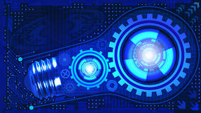 Abstract technological background with light bulb, gears and microchip of blue shades. Concept of light bulb with gears inside mec Stock Photography