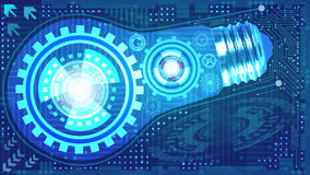 Abstract technological background with light bulb, gears and microchip Stock Photography