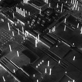 Abstract technological background made of different element printed circuit board and flares. royalty free stock photos