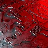 Abstract technological background made of different element printed circuit board and flares. Stock Photography