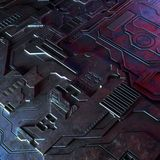 Abstract technological background made of different element printed circuit board and flares. Royalty Free Stock Images