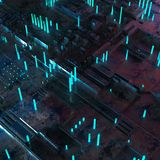 Abstract technological background made of different element printed circuit board and flares. 3d rendering royalty free illustration