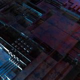 Abstract technological background made of different element printed circuit board and flares. 3d rendering royalty free stock photos
