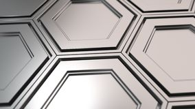 Wall of metal hexagons. Abstract technological background made of metal hexagons. Wall of hexagons. 3D render illustration stock footage