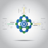 Abstract technological background with various technological elements. Vector illustration Royalty Free Stock Photo