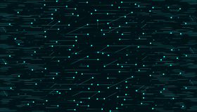 Abstract technological bright green lines and dots on a black background royalty free illustration