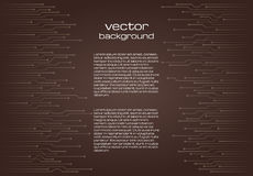 Abstract technological brown background with elements of the microchip. Stock Photography