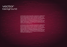 Abstract technological dark red background with elements of the microchip. Royalty Free Stock Image