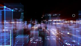 Technological digital background consisting of a futuristic city with data stock images
