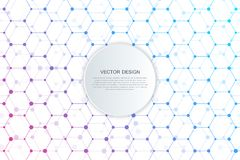 Abstract technological and scientific background with hexagons. Science, technology and medical concept. Vector. Illustration Stock Photography