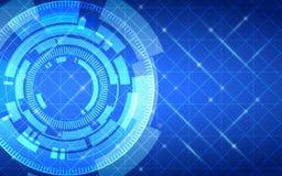Abstract technologiecirkels en net op donkerblauwe kleurenachtergrond Royalty-vrije Stock Foto
