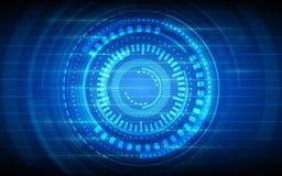 Abstract technologiecirkels en net op donkerblauwe kleurenachtergrond Stock Foto's