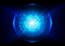 Abstract technologienetwerk met cirkel en blauwe lichte achtergrond Stock Foto's