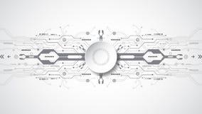 Abstract technologisch concept als achtergrond met diverse technologieelementen Royalty-vrije Illustratie