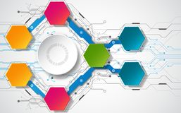 Abstract technologisch concept als achtergrond met diverse technologieelementen illustratievector Stock Foto