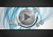 Abstract Technology App Icon With Music Button. Stock Images