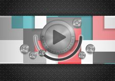 Abstract Technology App Icon With Music Button. Stock Photos