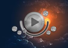 Abstract Technology App Icon With Music Button Royalty Free Stock Image