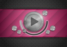 Abstract Technology App Icon With Music Button Stock Photos