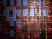 Abstract Technology Background. An abstract hot wire communication technology background. With light bit on red grid background stock illustration
