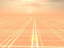 Abstract Technology Background. An orange perspective horizon grid technology backgound vector illustration