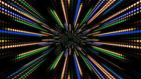 Abstract technology background with animation slow motion of light stripes dot circle Blue Green Orange. And Animation of data transferring or computer`s data stock video