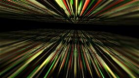 Abstract technology background with animation slow motion of light stripes dot circle Green Yellow Orange. And Animation of data transferring or computer`s data stock footage