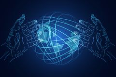 Abstract technology background business science consist : hands. Hi tech blue digital future futuristic, world digital network connection map dot. concept : The Stock Image