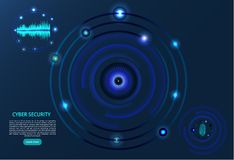 Abstract technology background. The concept of cybersecurity. Fingerprint, eye and voice scan - vector illustration. royalty free illustration