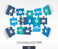 Abstract technology background, connected color puzzles, integrated flat icons. 3d infographic concept with technology, cloud Royalty Free Stock Image