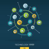 Abstract technology background. Digital connect system with integrated circles, flat thin line icons. Vector infographic. Abstract wireless technology background Stock Image